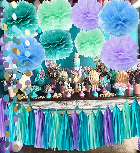 Qians Party Under The Sea Party Supplies/Mermaid Decorations Teal Purple Mint Tissue Pom First Birthday Decorations Baby Shower Decorations Purple Mermaid Party Supplies/Mermaid Bridal Shower Decor