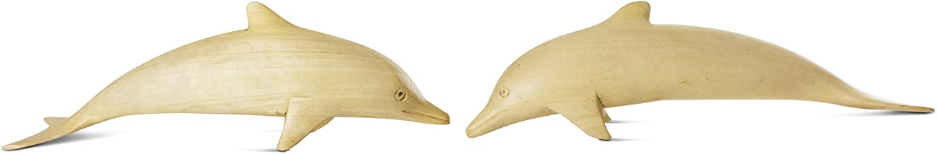 G6 Collection Wooden Hand Carved Set of 2 Swimming Dolphins Statue Sculpture Wood Home Decor Accent Figurine Handcrafted H...