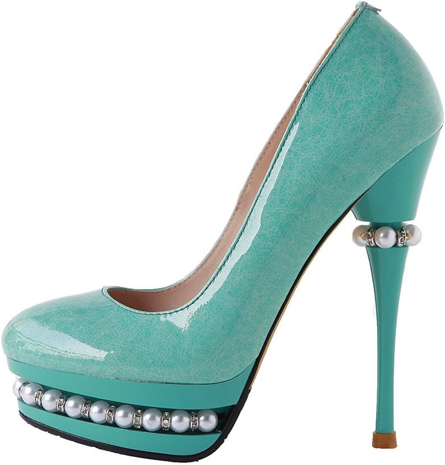 AllhqFashion Women's Closed Round Toe Cow Leather High Heels Solid Pumps with Bead and Printing