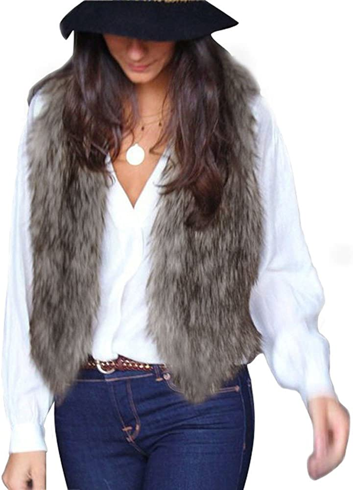 Women Quantity limited Vest Very popular Sleeveless Outfit Coat Shor Outerwear Shaggy Fur Faux