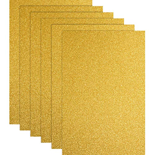 Christmas Glitter Heat Transfer Vinyl HTV for T-Shirts 10 x 12 Inches 6 Sheets (Gold)
