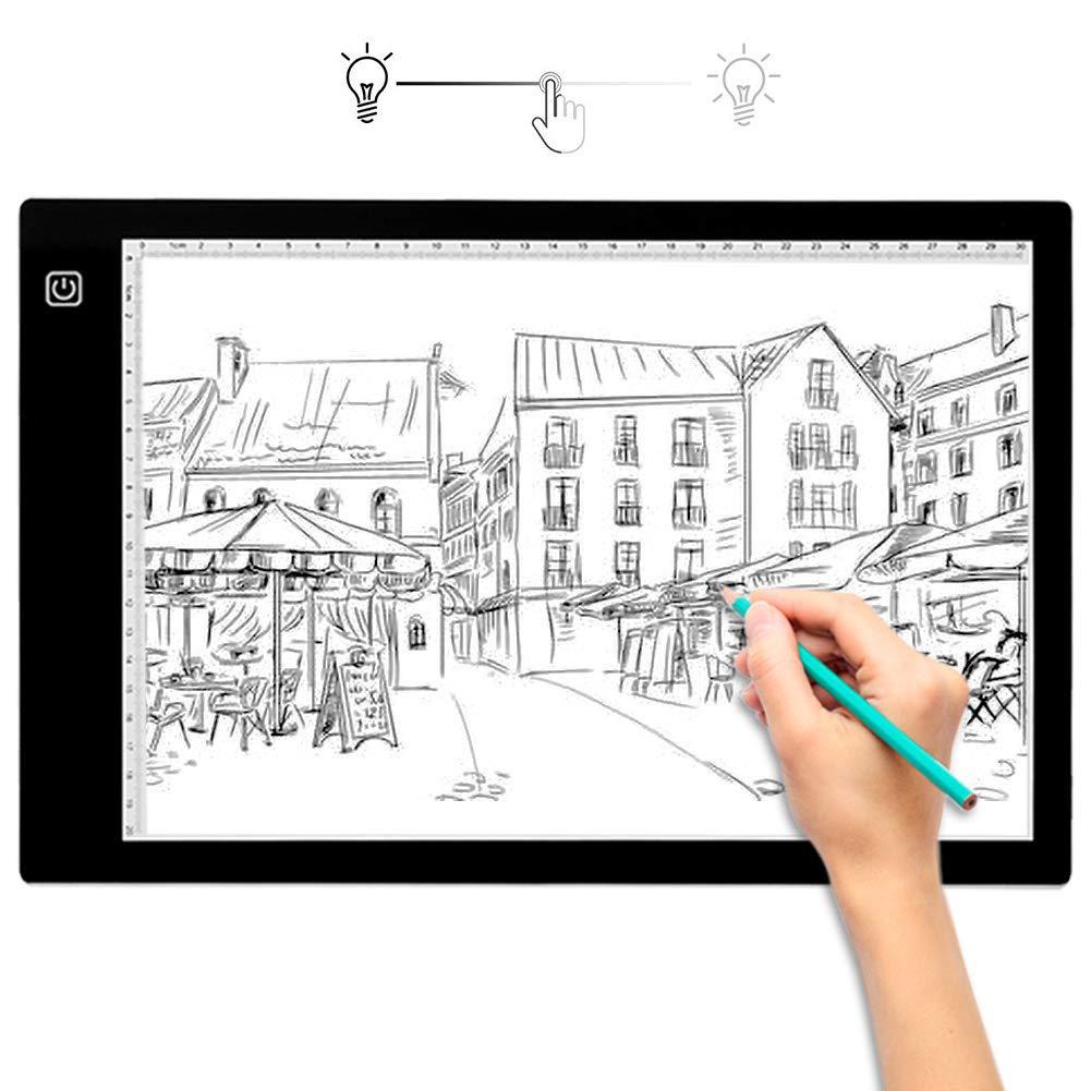 EJOYDUTY Caja de Luz LED Portátil Ultra-Delgada A3, LED de Brillo Regulable, Oficio del Arte Cojín Ligero de trazado, para Artistas Dibujo Bocetos Animación Stencilling: Amazon.es: Hogar
