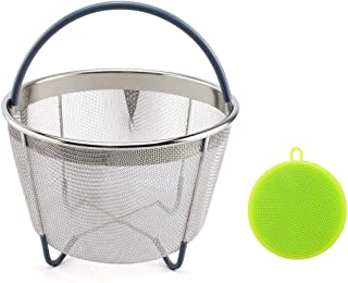 6qt Stainless Steel Steamer Basket Fits InstaPot Pressure Cooker Instant Pot Accessories w/Silicone Scrubber Handle and Non-Slip Legs for Steaming Vegetables Fruits Eggs Meats