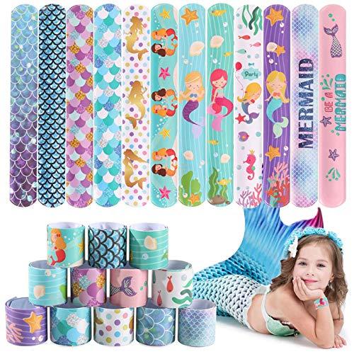 JoyJon 48 Pcs Mermaid Slap Bracelet Mermaid Party Favors, Wristband Snap Bands Class Prizes for Kids, Girls Party Decorations Favors