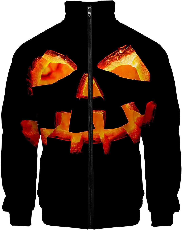 Coat for Men's Blouse Tops Halloween Horror Series Printed Stand Collar Zipper Long Sleeve Jacket Sweatshirt