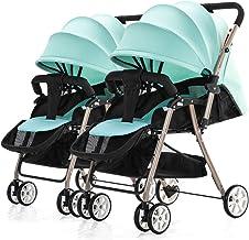 Cochecito DZWSD Silla de Paseo gemelar Plegable bebé Desmontable Implementación bidireccional con arnés de 5 Puntos, portavasos, toldo Solar para bebés, niños pequeños
