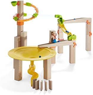 HABA Ball Track Basic Pack Funnel Jungle - Wooden Marble Run with Plastic Elements (Made in Germany)