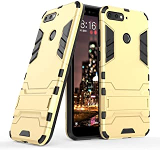 Case for Huawei Honor 7A (5.7 inch) 2 in 1 Shockproof with Kickstand Feature Hybrid Dual Layer Armor Defender Protective Cover (Gold)
