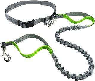 Justzon Hands Free Waist Dog Leash with Retractable Bungee, Adjustable Waist Belt, Dual Handles, Night Reflective Design, for Running Walking Training Hiking