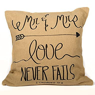 Mr & Mrs Love Cotton Burlap Country Pillow