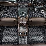 Dinuoda Alfombrillas de coche para BMW Serie 7 2004-2008 rodeadas de protección contra todo tipo de clima, antideslizante, impermeable y resistente al desgaste, alfombrillas de piel (negro beige)