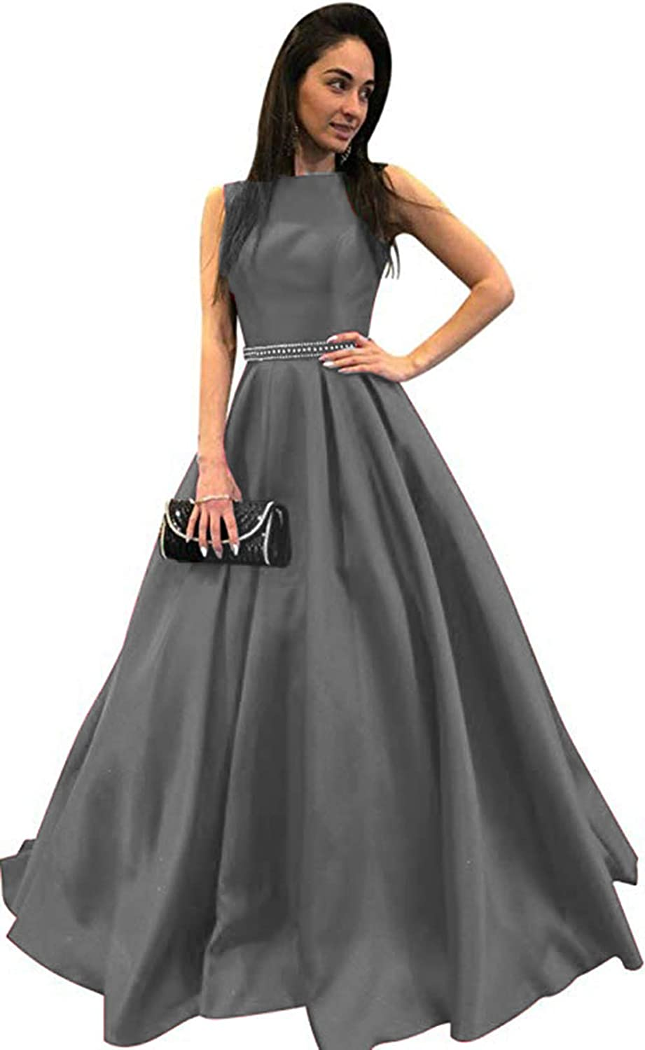 Ri Yun Womens Scoop Neck Long Prom Dresses 2019 Backless Beaded ALine Satin Formal Evening Ball Gowns with Pockets
