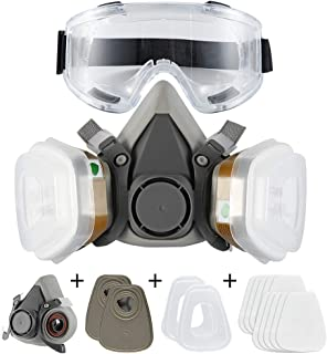 Dust Face Cover Spray Paint Cover Gas Filter Respirator Goggles Reusable Adjustable for Chemical,Industrial,Particulate, M...