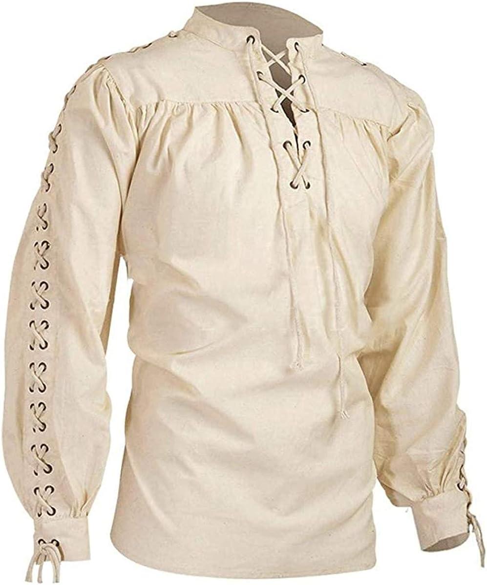 LISDINO Men's Super-cheap Loose Linen Medieval Selling Long Renaissance Shirt Gothic