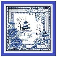 クロスステッチ刺繍キット 青い風景51x51cm 図柄印刷 初心者 ホームの装飾 贈り物 刺繍糸 針 ホームの装飾(フレームレス)
