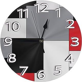 Night Ing Horloge Murale géométrique irrégulière Blanche, Grise, Noire et Rouge Horloge Murale Ronde Durable pour Salle de...