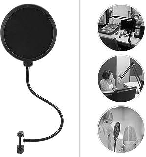 ポップガード ポップブロッカー スタジオマイク用 マイクウインドスクリーン グースネックシールドポップフィルター 360度自由調整 ノイズ防止 二重層 ブラック