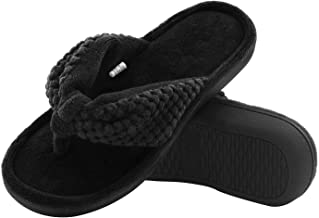 ULTRAIDEAS Women's Memory Foam Flip Flop Slippers with Cozy Terry Lining, Moisture-Wicking Open Toe Slip On Spa Thong Sandals Mules, Ladies' House Shoes with Indoor Outdoor Anti-Skid Hard Rubber Sole