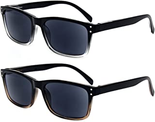 2 Pack Unisex Classic Style Sunglasses Readers - Comfortable Simple Stylish Readers