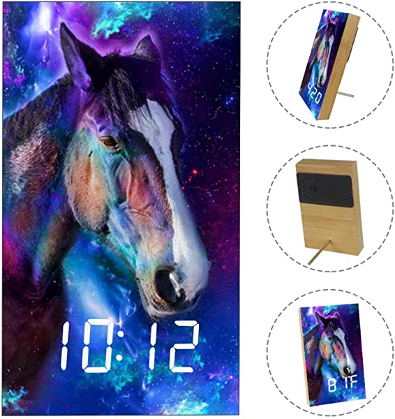 Horse Space Sky Digital Alarm Clock Displays Time Date Temperature Cube USB Battery Powered Sound Control LED Desk Clock For Bedroom Office Home