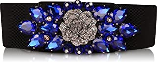 SanJL Women's Elastic Stretch Waist Belt for Dress Crystal Waistband
