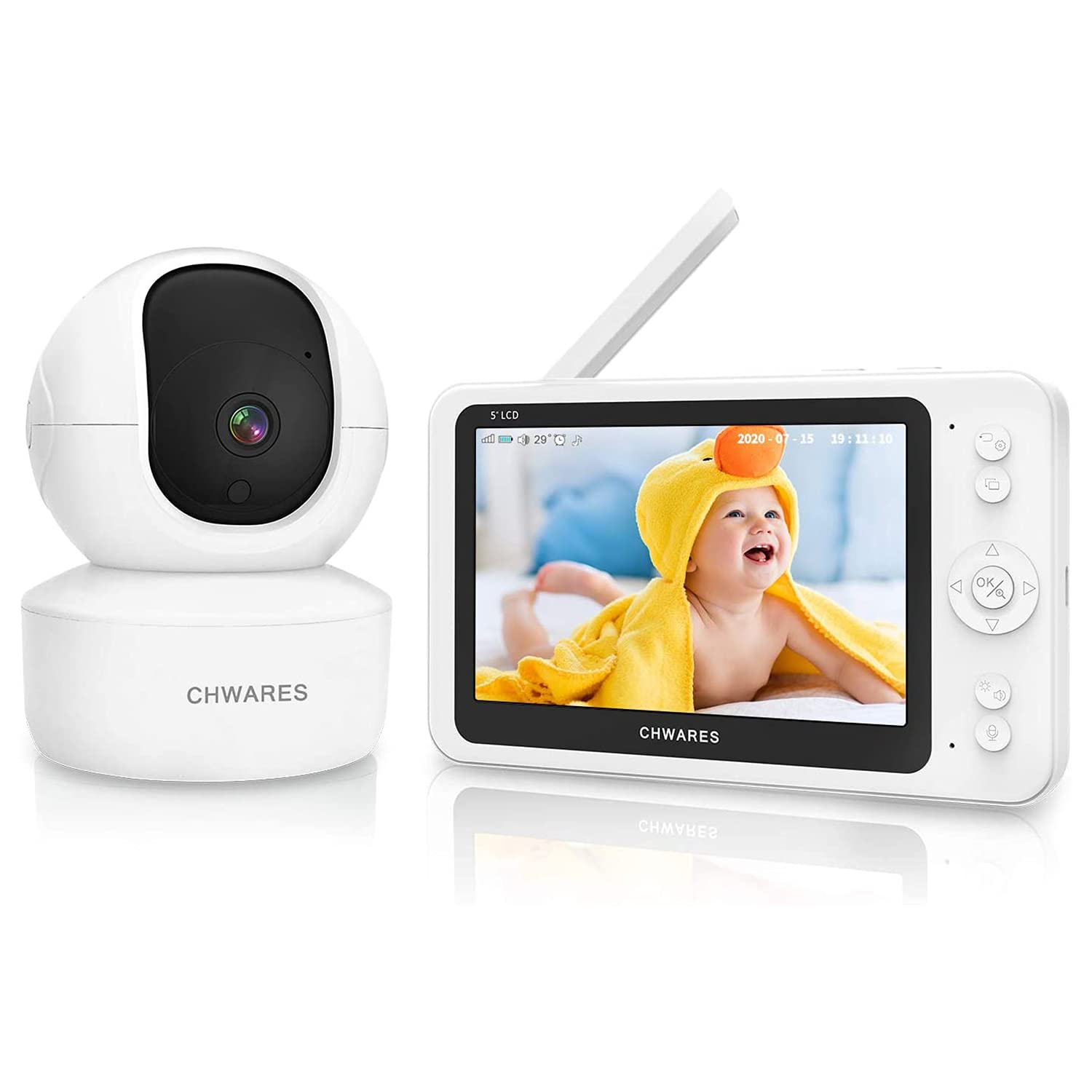 Video Baby Monitor with Remote Pan-Tilt-Zoom Camera and Audio, 1080P HD 5