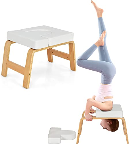 discount Giantex Yoga Headstand Bench, Upside wholesale Down Chair for Balance Training, Body Shaping & Core Strength Building, Inversion Stool w/Solid Wood Frame & popular Detachable PU Pads, Feet Up Trainer outlet online sale