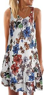 AngelSpace 女性Vネックプリント休日非対称裾ノースリーブショートドレス