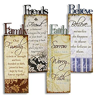 Large 4 Metal Family Friends Faith Believe Wall Art Signs Rustic Country Home Decor
