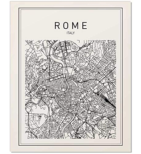 Rome Map, Rome Print, Map of Rome, Italy Map, Italy Wall Art, Map Print, Black Map Print, Minimalist Map, City Map, Modern Map, Wall Print, Map Art, Map Poster, Modern Maps, Black Print, 8x10