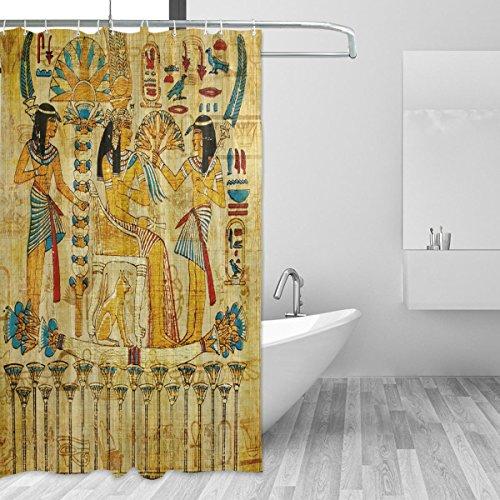 JSTEL Old Egyptian Papyrus Duschvorhang schimmelresistent & wasserdicht Polyestergewebe 183 x 183 cm für Zuhause extra lang Badezimmer dekorativ Dusche Bad Gardinen Liner mit 12 Haken