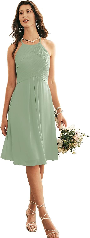ALICEPUB Halter Chiffon Bridesmaid Dress Short Cocktail Formal Dresses for Women Party
