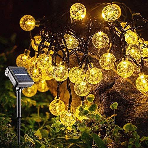 SUNACE Solar Lichterkette Außen, 10.85M 60 LED 8 Modi Lichterkette Aussen Wasserdicht Kristall Kugeln Beleuchtung für Garten Bäume Terrasse Weihnachten Hochzeiten Partys Innen/Außen(Warmweiß)