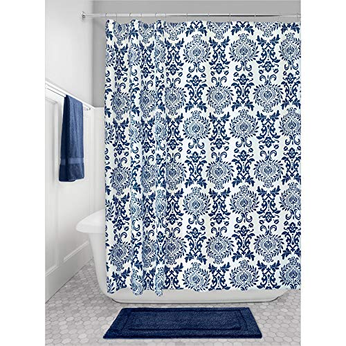 Price comparison product image iDesign Damask Fabric Shower Curtain,  Polyester Shower Screen with Bold Pattern Design,  Navy