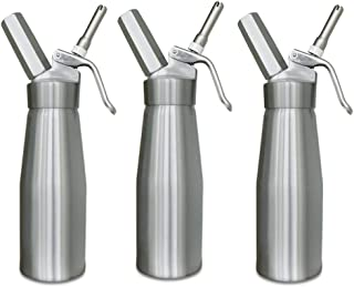 Whipped Cream Charger Dispenser Canister - Cream Whipper Maker Aluminum Whipping Siphon Silver 3 Pack Wholesale Animato
