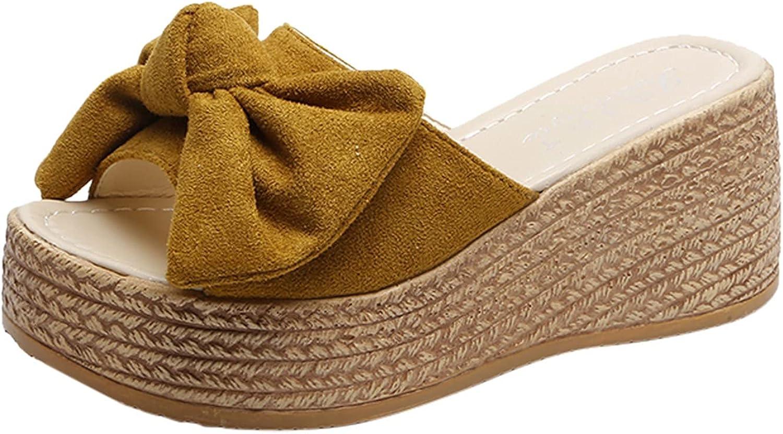 Women's Wedge Sandals Bowknot Peep-Toe Platform Slippers Roman S