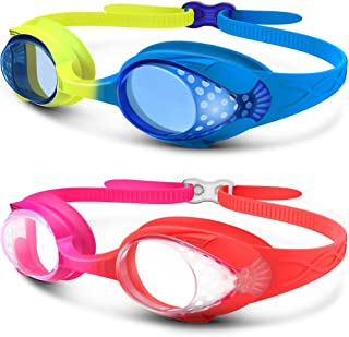 OutdoorMaster Kids Swimming Goggles - Fun Fish Style Swim Goggles for Children (Age 4-12) Leakproof Design, Shatterproof Anti-Fog 100% UV Protection Lens & Quick Adjustable Strap - 2 Pack