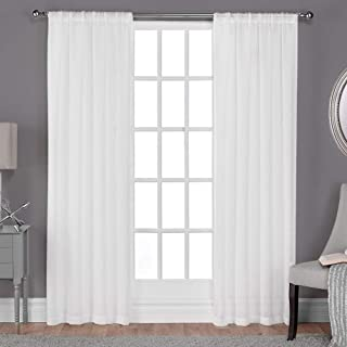Exclusive Home Curtains Belgian Textured Linen Look Jacquard Sheer Rod Pocket Curtain Panel Pair, 50x108, Winter White, 2 Piece