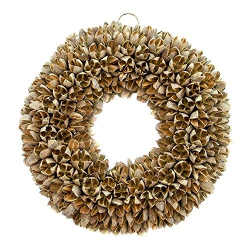 Naturkranz Deko Ø25cm in olive wash gefertigt aus Bakuli-Früchten | Türkranz ganzjährig zum hängen und als Tischdekoration im Shabby chic Design | Zeitloses Wohnaccessoir als Landhaus Natur-Deko