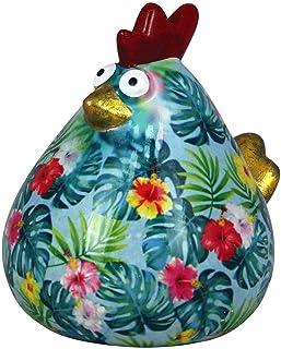 Pomme Pidou Skarbonka Chicken Matilda | oryginalna skarbonka ceramiczna kurczaka | zielona z białymi kwiatami | ekskluzywn...