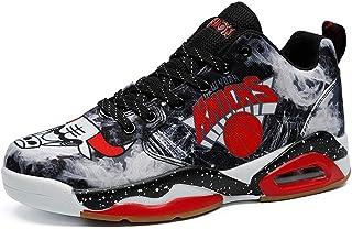 Zapatillas de Baloncesto para Hombre Zapatillas de Deporte con Pintura de Graffiti con Cordones Zapatos Deportivos de Lona...