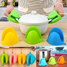 WOQZILINE Silicone Pot Holder Heat Resistant, Oven Mitts Glove Cooking Pinch Grips Glove Hand Clip Convenient Pot Holder Kitchen Pot Holder Utensil Tool (Multicolor) – Set of 2