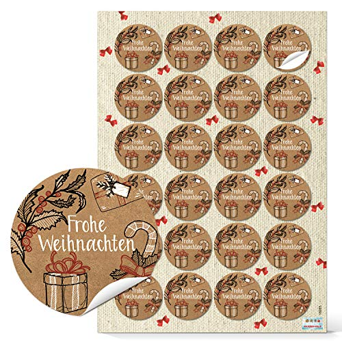 Logbuch-Verlag 96 Text Aufkleber FROHE WEIHNACHTEN rot schwarz weiß braun natur Geschenketiketten Weihnachtsetiketten Weihnachtsverpackung