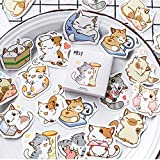 BLOUR Cute Cat Label Kawaii Sticker Diary Handmade Adhesive Paper Flake Japan Stickers Scrapbooking Stationery Sticker45 Unids/Caja