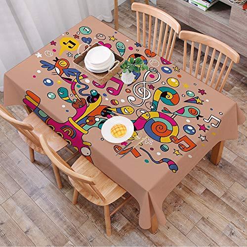 Nappe Rectangulaire Nappe Coton et Lin,Drôle, sous-marin avec des notes de musique colorées Harmony Bloom rythme concept Artful Illust,LavableModerne pour Décoration de Table de Cuisine (140 x 200 cm)