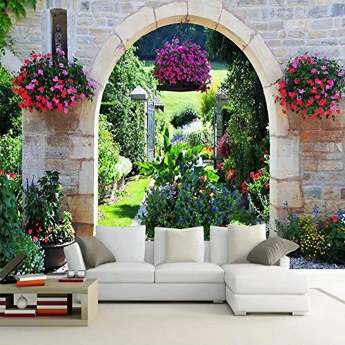 Awttmua Wandbild Tapete Drucken Mediterrane Garten Landschaft 3D Fototapete Wohnzimmer Schlafzimmer Wandbilder Home Decor 200cmx140cm