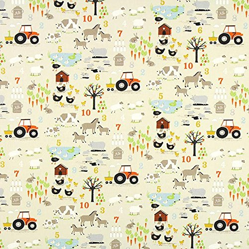 Fabulous Fabrics Cretonne Farm – Creme — Meterware ab 0,5m — Oeko-Tex Standard 100 Produktklasse I — zum Nähen von Bettwäsche, Dekoration und Taschen