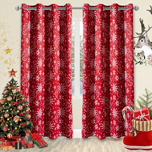LORDTEX Snow Print Christmas Curtains for Living Room and Bedroom - Thermal Insulated Blackout Curtains, Noise Reducing Window Drapes, 52 x 84 Inches Long, Red, Set of 2 Curtain Panels