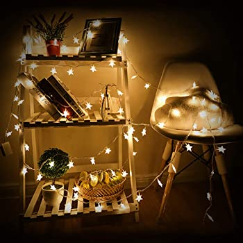 Samyoung Star String Lights, 50 LED Battery Operated LED Twinkle Lights Indoor Fairy Lights Warm White for Patio Wedd...