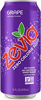 Zevia Grape, 16 Ounce Can (12 Count) Zero Calories, Zero Sugar, Naturally Sweetened, Carbonated Soda, Refreshing, Flavorful, and Tasty